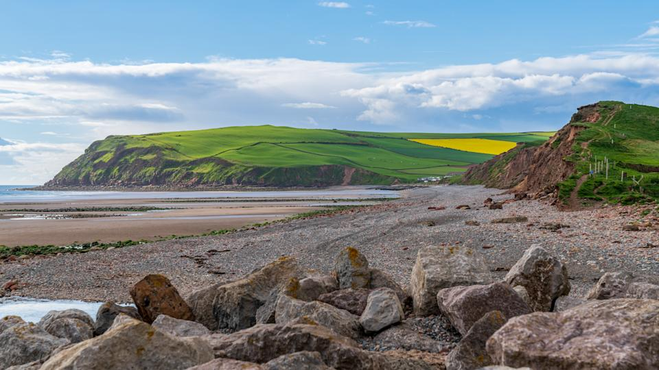 The beach and cliffs in St Bees near Whitehaven, Cumbria, England, UK
