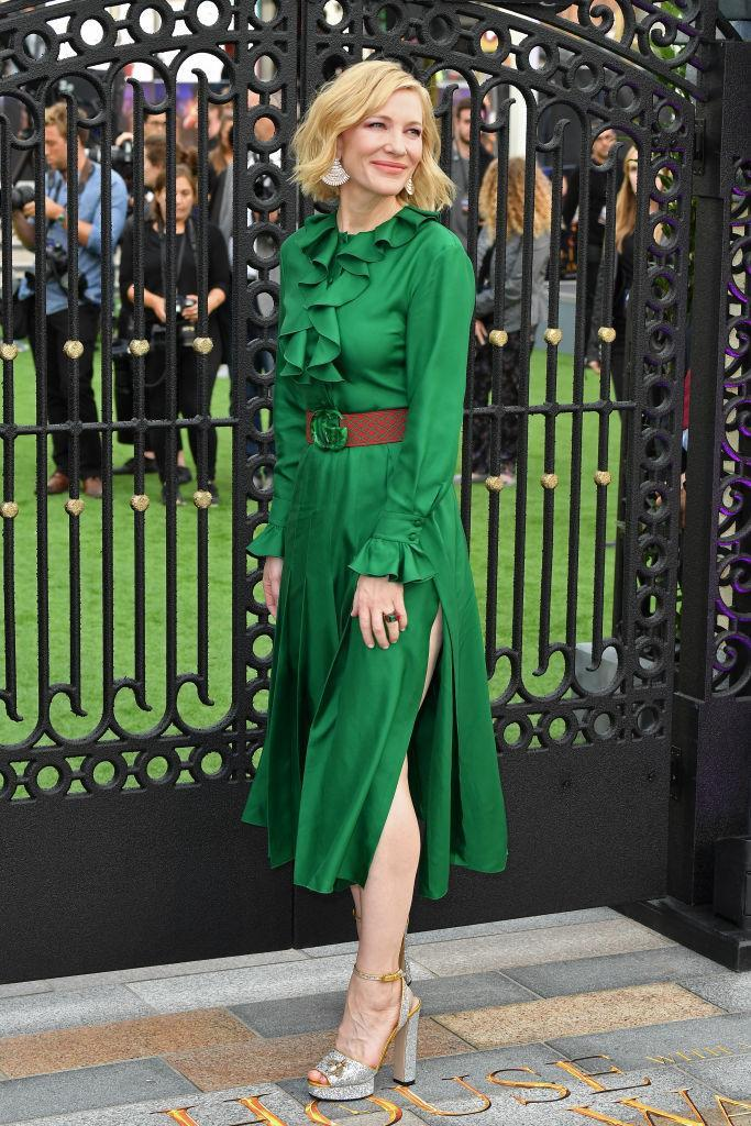 <p>It was a fast turnover for actress Cate Blanchett who flew to London after her Venice Film Festival appearance to celebrate the premiere of 'The House With The Clock In Its Walls'. For the event, she opted for a vivid green Gucci number. <em>[Photo: Instagram]</em> </p>