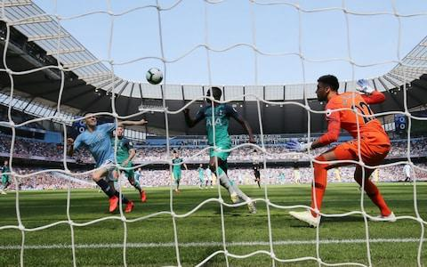 Manchester City Phil Foden (L) scores a goal during the English Premier League soccer match between Manchester City and Tottenham Hotspur at the Etihad Stadium - Credit: REX