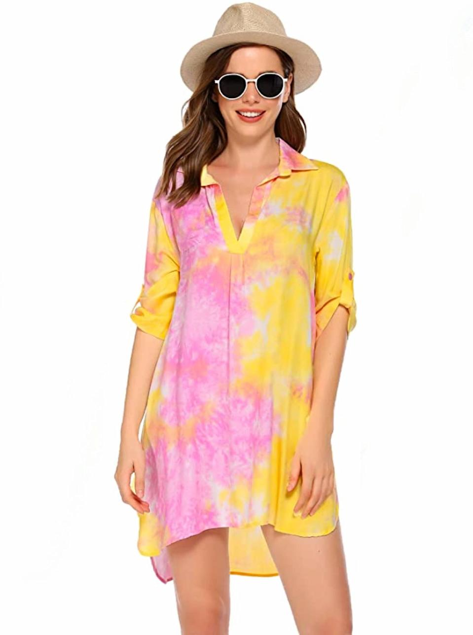 """Already planning for summer adventures? This tie-dye shirt dress is the beach bag essential we need in our life. $27, Amazon. <a href=""""https://www.amazon.com/Ekouaer-Womens-Swimsuit-Swimwear-Bathing/dp/B08DH9CW6X/"""" rel=""""nofollow noopener"""" target=""""_blank"""" data-ylk=""""slk:Get it now!"""" class=""""link rapid-noclick-resp"""">Get it now!</a>"""