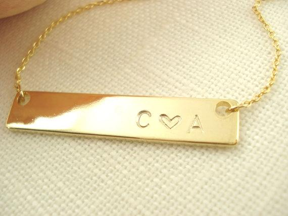 The Fig Garden gold bar necklace on Etsy