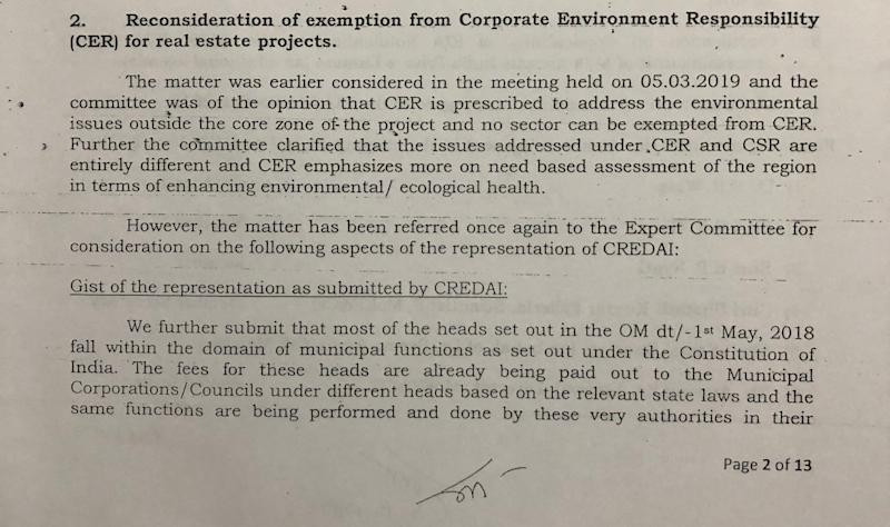 Minutes of the meeting held in May 2019 by the Dr Satish Wate led committee to discuss, among other things, the CREDAI's proposal for a second time about exempting the real estate sector from the obligation to fund Corporate Environment Responsibility activities. Accessed by this reporter under the RTI Act. (Photo: HuffPost India )