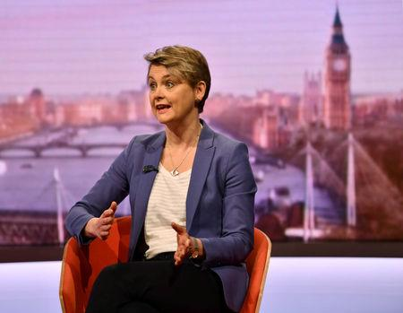 Britain's Normanton MP Cooper appear on BBC TV's The Andrew Marr Show in London