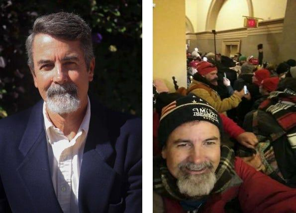 """Two photos of Glenn Brooks, one in a shirt and jacket and another in a """"Trump"""" hat from inside the US Capitol."""