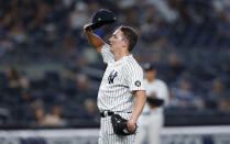New York Yankees relief pitcher Chad Green pauses after the Boston Red Sox scored during the eighth inning of a baseball game Saturday, June 5, 2021, in New York. (AP Photo/Noah K. Murray)