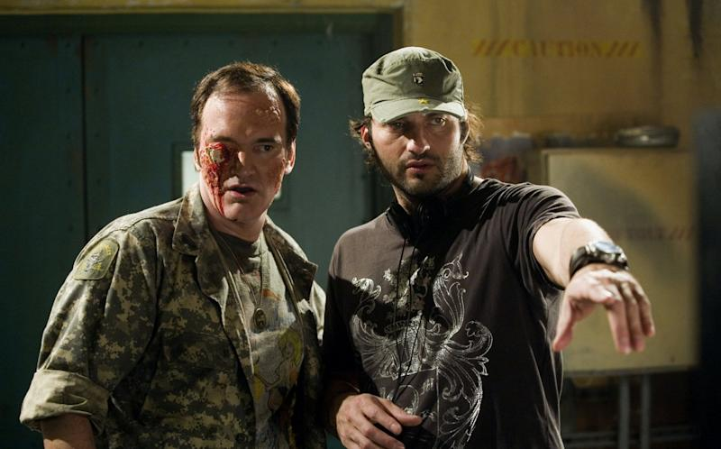 Quentin Tarantino and Robert Rodriguez shooting 'Planet Terror,' the first film in the 'Grindhouse' double bill (credit: Dimension Films/TWC)