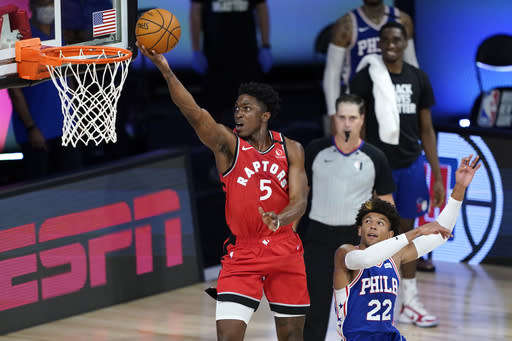 Raptors rally past Sixers to give Griffin a coaching win