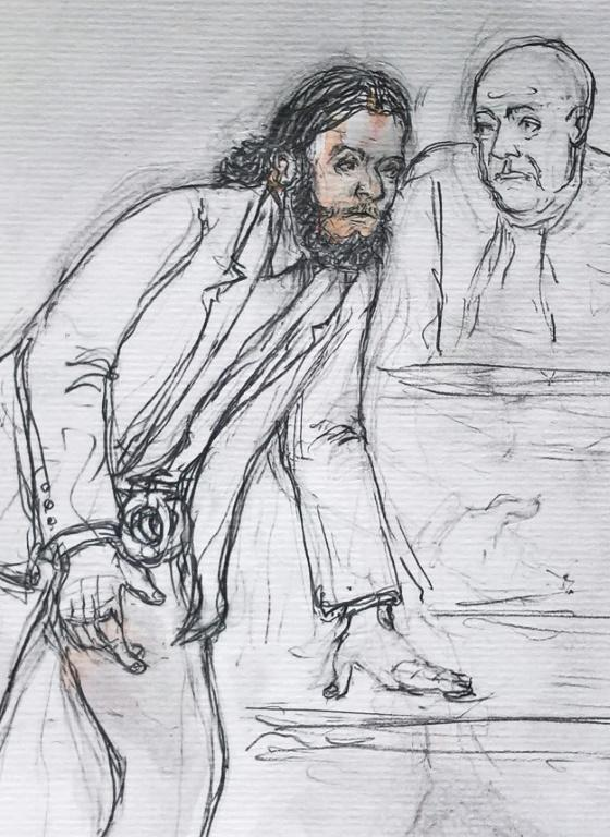A courtroom sketch made February 7, 2018 shows Salah Abdesalam, prime suspect in the November 2015 Paris attacks at Monday's opening of his trial at a courthouse in Brussels