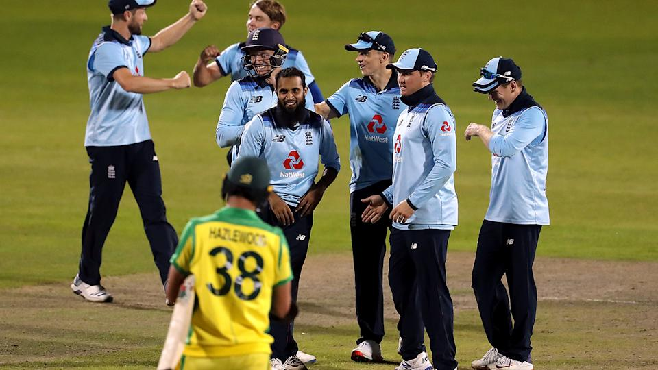 England players, pictured here celebrating after beating Australia in the second ODI.