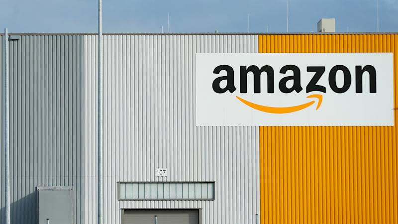A view of the new Amazon logistic center with the company's logo. Image: Reuters