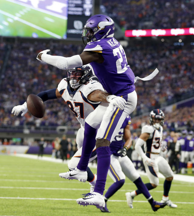 Minnesota Vikings safety Jayron Kearse, right, breaks up a pass intended for Denver Broncos tight end Noah Fant (87) in the end zone during the second half of an NFL football game, Sunday, Nov. 17, 2019, in Minneapolis. The Vikings won 27-23. (AP Photo/Bruce Kluckhohn)