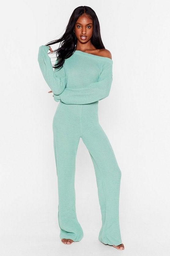 """<h2>NastyGal Waffle Top & Legging Set</h2><br><strong>Available Sizes: S-L</strong><br>For a more glamorous take on the waffle-knit trend, try this currently on super-sale set in a cool-blue hue featuring an off-the-shoulder silhouette and ribbed-seam details.<br><br><em>Shop <strong><a href=""""https://www.nastygal.com/waffle-top-and-legging-set/AGG52464.html"""" rel=""""nofollow noopener"""" target=""""_blank"""" data-ylk=""""slk:NastyGal"""" class=""""link rapid-noclick-resp"""">NastyGal</a></strong></em><br><br><strong>NastyGal</strong> Waffle Top & Legging Set, $, available at <a href=""""https://go.skimresources.com/?id=30283X879131&url=https%3A%2F%2Fwww.nastygal.com%2Fwaffle-top-and-legging-set%2FAGG52464.html"""" rel=""""nofollow noopener"""" target=""""_blank"""" data-ylk=""""slk:NastyGal"""" class=""""link rapid-noclick-resp"""">NastyGal</a>"""