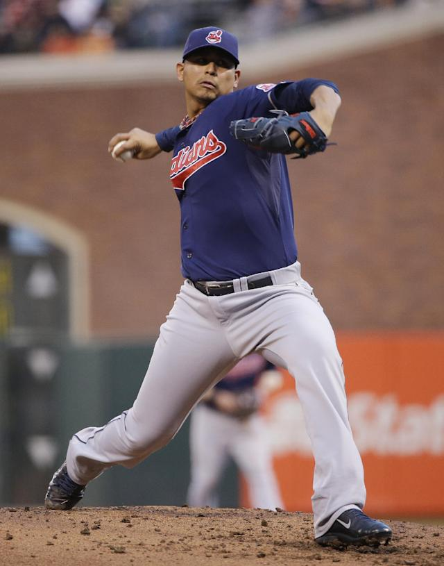 Cleveland Indians starting pitcher Carlos Carrasco throws to the San Francisco Giants during the first inning of a baseball game Friday, April 25, 2014, in San Francisco. (AP Photo/Marcio Jose Sanchez)