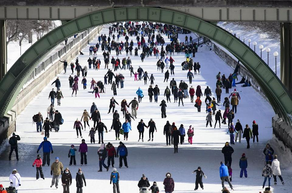 "<span class=""caption"">Outdoor rinks in Canada have been found to be racially diverse meeting places. Here people take to the Rideau Canal in Ottawa on Feb. 18, 2019.</span> <span class=""attribution""><span class=""source"">CANADIAN PRESS/Sean Kilpatrick</span></span>"