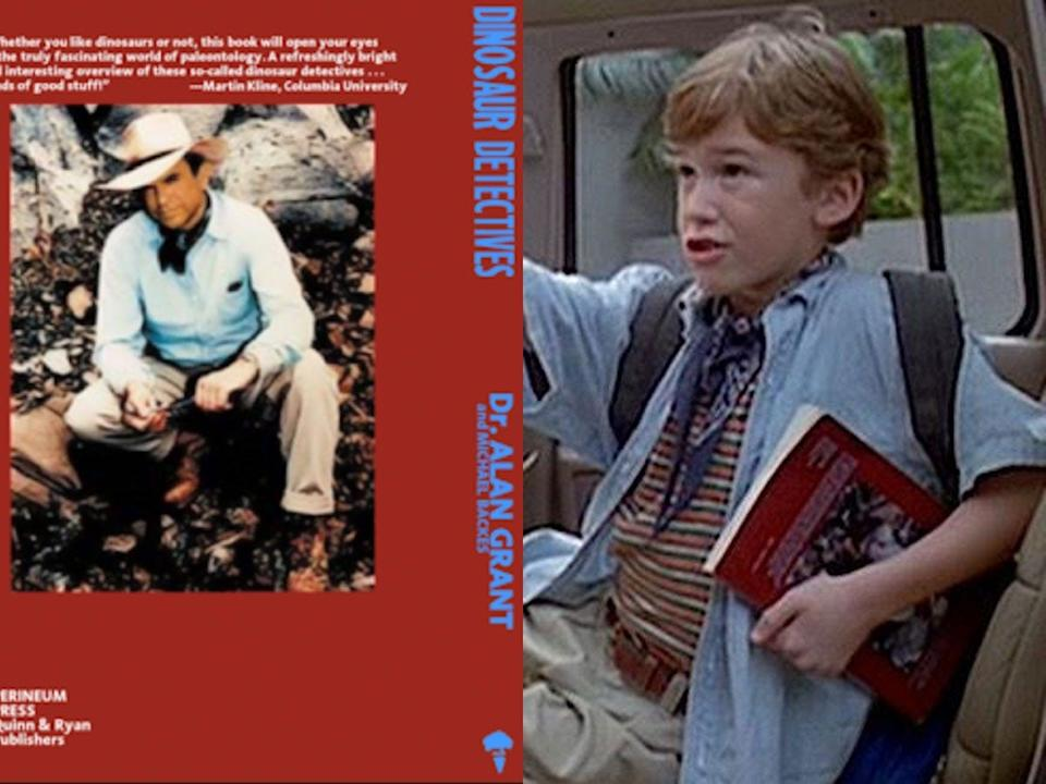 """Tim can be seen holding Alan Grant's fictional book, """"Dinosaur Detectives."""""""