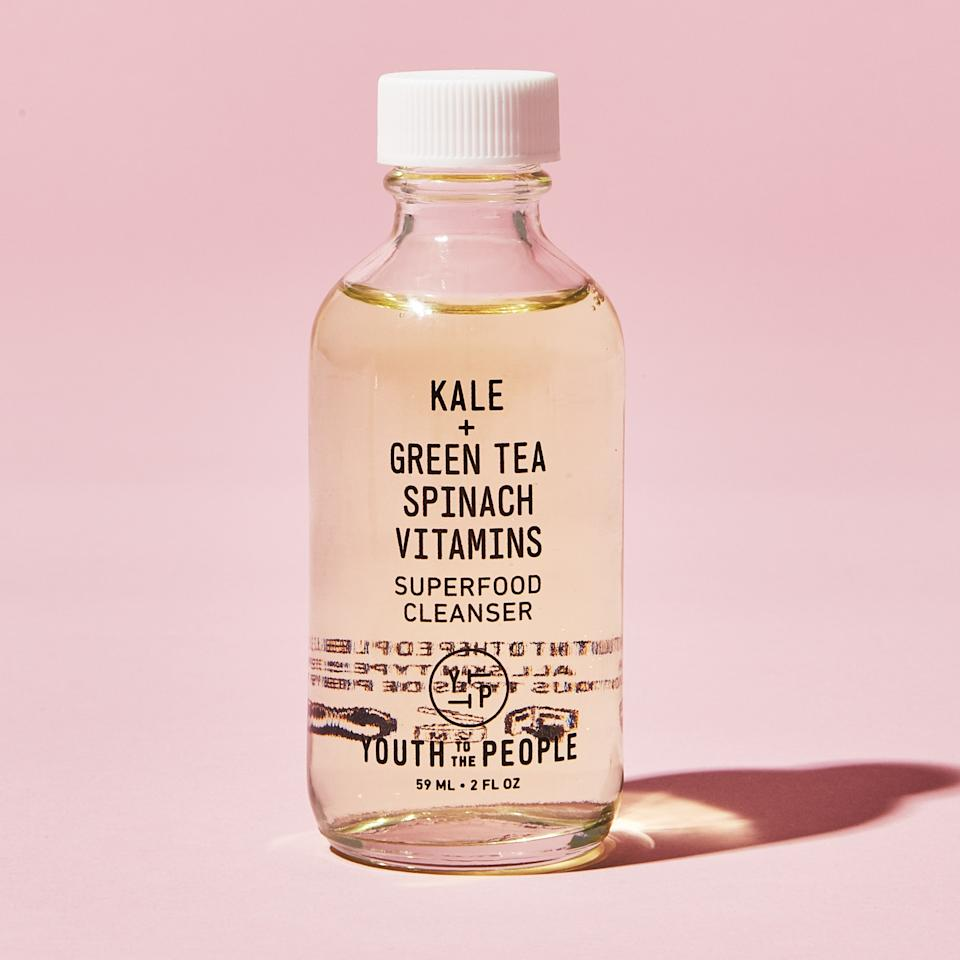 """<p>After a life-changing <a href=""""https://intothegloss.com/2017/08/how-to-wash-your-face-correctly/"""">interview with esthetician <strong>Kate Somerville</strong></a>, I now ALWAYS steam my cleanser off in the shower with a hot washcloth. It opens the business out of your pores and I immediately noticed my skin tighten. (Must rinse with cold water after for full magic effect—but there are a lot worse rude awakenings in your 30s.) I use a gentle, vitamin-packed cleanser because anything else will dry me out: <a href=""""https://www.sephora.com/product/kale-spinach-green-tea-age-prevention-cleanser-P411387"""">Youth to the People's Superfood cleanser</a> with kale (lol), spinach, and green tea. I don't even drink green juices, but apparently my face does. It has a rich gel texture and makes my skin feel quenched afterward (yeah I said it) and gives it a slight glow. The glass bottle gets bonus points in this plastic-ruined world.</p> <p>Buy it:<a href=""""https://www.sephora.com/product/kale-spinach-green-tea-age-prevention-cleanser-P411387"""">Youth to the People's Superfood cleanser</a>, $36.</p>"""