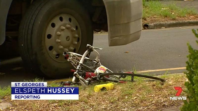 A cyclist collided with a truck in Adelaide on Thursday morning. Source: 7 News