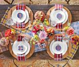 "<p>This playful setup features place cards fashioned from <a href=""https://www.amazon.com/dp/B07597TJVG/ref=dp_prsubs_1"" rel=""nofollow noopener"" target=""_blank"" data-ylk=""slk:embroidery hoops"" class=""link rapid-noclick-resp"">embroidery hoops</a>, plaid-covered pumpkins, and layers of checked cloths. Feel free to mix it up with your favorite patterns—just be sure to stick with autumn hues for a cohesive look.</p><p><a class=""link rapid-noclick-resp"" href=""https://www.amazon.com/DII-Cotton-Oversized-Holiday-Pumpkin/dp/B06XSHTWFD/ref=sr_1_20?tag=syn-yahoo-20&ascsubtag=%5Bartid%7C10050.g.2063%5Bsrc%7Cyahoo-us"" rel=""nofollow noopener"" target=""_blank"" data-ylk=""slk:SHOP PLAID NAPKINS"">SHOP PLAID NAPKINS</a></p>"