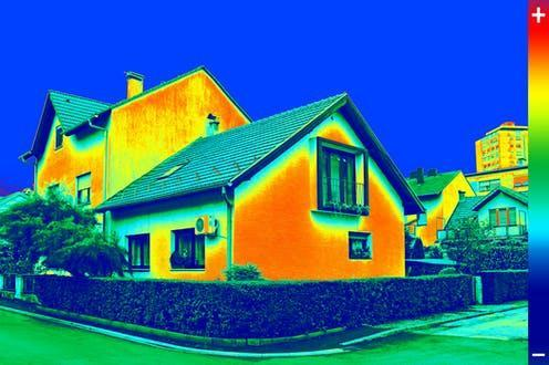 """<span class=""""caption"""">An infrared image shows where heat leaks from buildings.</span> <span class=""""attribution""""><a class=""""link rapid-noclick-resp"""" href=""""https://www.shutterstock.com/image-photo/infrared-thermovision-image-showing-lack-thermal-216547897"""" rel=""""nofollow noopener"""" target=""""_blank"""" data-ylk=""""slk:Ivan Smuk/Shutterstock"""">Ivan Smuk/Shutterstock</a></span>"""