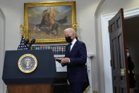 President Joe Biden arrives to speak about the situation in Afghanistan in the Roosevelt Room of the White House, Sunday, Aug. 22, 2021, in Washington. (AP Photo/Manuel Balce Ceneta)