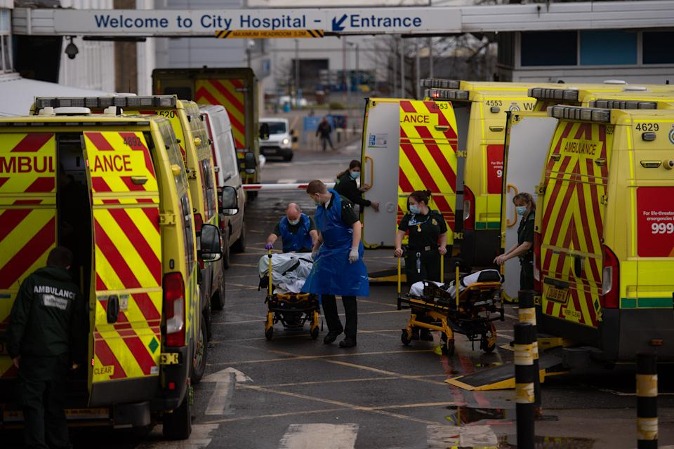Ambulance crews transport patients into City Hospital in Birmingham. The West Midlands has several areas in the top 10 highest-growing coronavirus numbers. (Photo by Jacob King/PA Images via Getty Images)