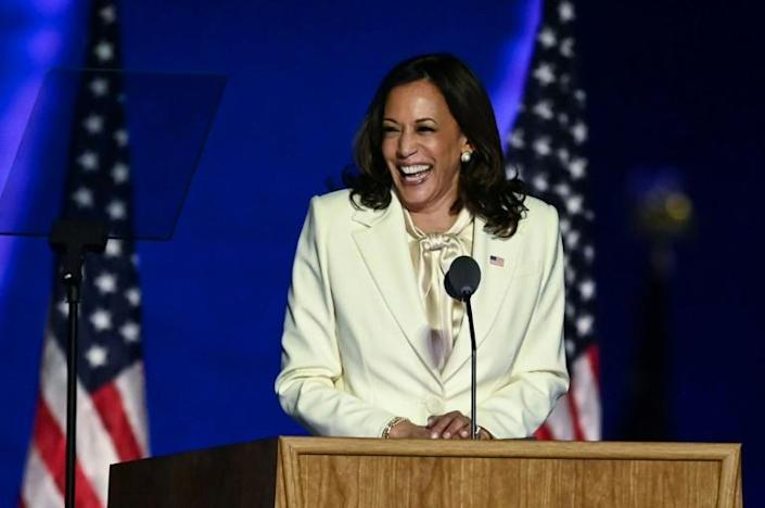 Vice President-elect Kamala Harris delivers remarks in Wilmington, Delaware, on November 7, 2020, after being declared the winner with Joe Biden of the presidential election