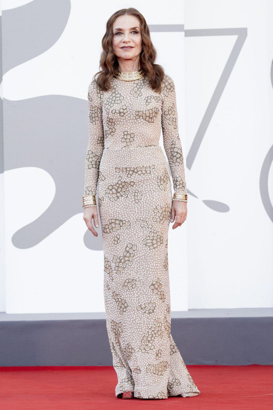 <p>Isabelle Huppert walked the red carpet in a patterned Armani Privé design. </p>