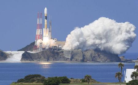 A H-IIA rocket carrying Michibiki 3 satellite lifts off from the launching pad at Tanegashima Space Center on the southwestern island of Tanegashima