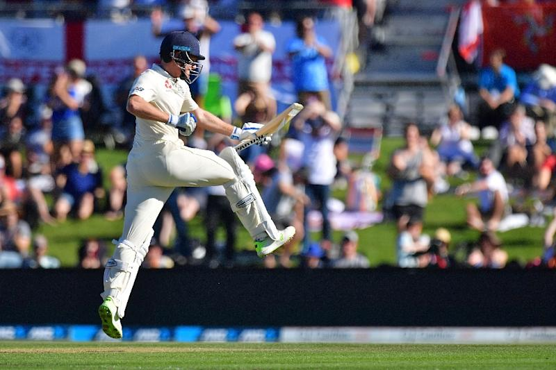 England's Jonny Bairstow celebrates 100 runs during day two of the second Test against New Zealand in Christchurch
