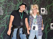 <p>Party on! The <em>Pitch Perfect</em> couple dressed as the iconic Wayne and Garth from <em>Wayne's World</em>. (Photo: Presley Ann/Patrick McMullan via Getty Images) </p>