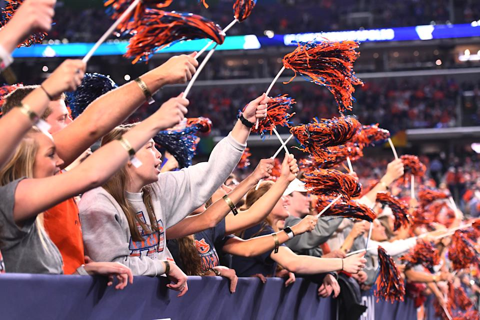 Auburn fans cheer on the Tigers at the start of the semifinal game in the NCAA Men's Final Four at U.S. Bank Stadium on April 06, 2019 in Minneapolis, Minnesota. (Photo by Brett Wilhelm/NCAA Photos via Getty Images)