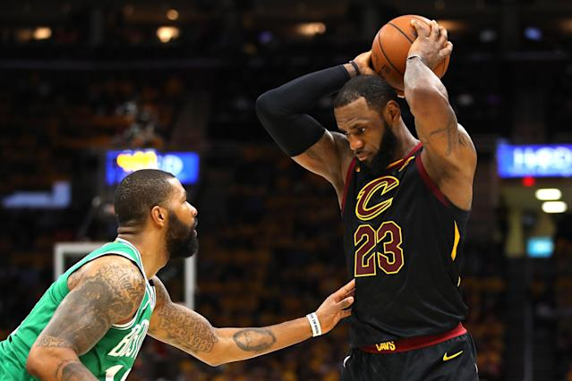 "<a class=""link rapid-noclick-resp"" href=""/nba/players/3704/"" data-ylk=""slk:LeBron James"">LeBron James</a> took the ball, and matters in general, into his own hands once again in Game 4, torching the <a class=""link rapid-noclick-resp"" href=""/nba/teams/bos"" data-ylk=""slk:Celtics"">Celtics</a> to even the Eastern Conference finals. (Getty)"