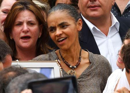 Brazilian politician Marina Silva attends the wake for late presidential candidate Eduardo Campos in Recife