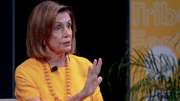 PHOTO: Speaker of the House Nancy Pelosi, D-Calif., speaks during an interview at The Texas Tribune Festival on Saturday, Sept. 28, 2019, in Austin, Texas. (Nick Wagner/Austin American-Statesman via AP)