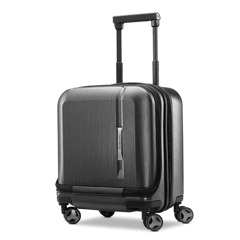 """<p><strong>Samsonite</strong></p><p>samsonite.com</p><p><strong>$199.99</strong></p><p><a href=""""https://go.redirectingat.com?id=74968X1596630&url=https%3A%2F%2Fshop.samsonite.com%2Fluggage%2Fcarry-on-luggage%2Fnovaire-wheeled-underseater%2F126716XXXX.html&sref=https%3A%2F%2Fwww.redbookmag.com%2Flife%2Fg37394352%2Fessential-travel-items%2F"""" rel=""""nofollow noopener"""" target=""""_blank"""" data-ylk=""""slk:Shop Now"""" class=""""link rapid-noclick-resp"""">Shop Now</a></p><p>If you're a light packer or just taking a short trip, this is the perfect piece for you. The hard exterior also offers protection for whatever you decide to fill it with. </p>"""