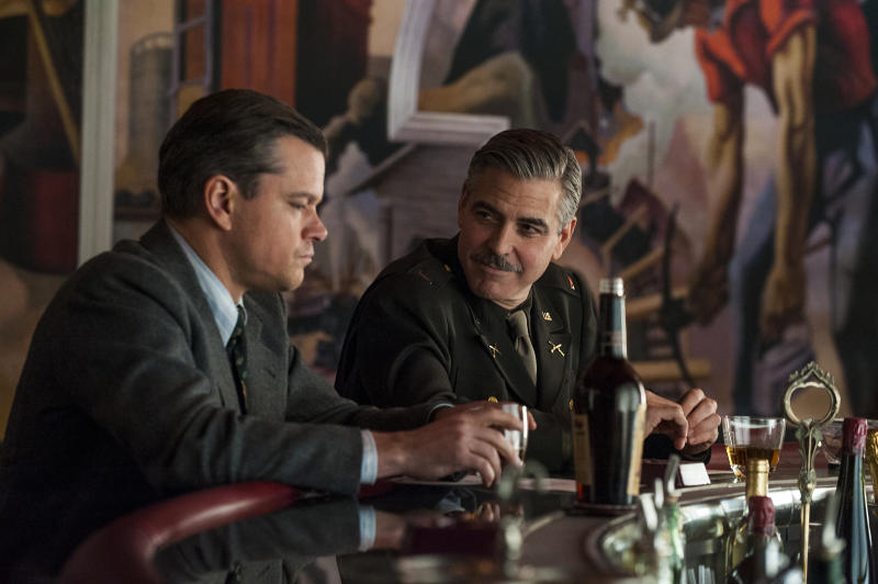 """Matt Damon and George Clooney in Columbia Pictures' """"The Monuments Men"""" - 2014"""