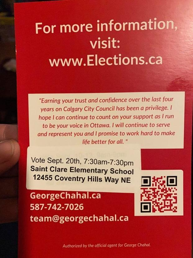 This campaign card left at Glenn Pennett's house by the George Chahal campaign included voting instructions for a school 18 kilometres away from his home in Temple, which he says is not the right location for residents there. (Submitted by Glenn Pennett - image credit)