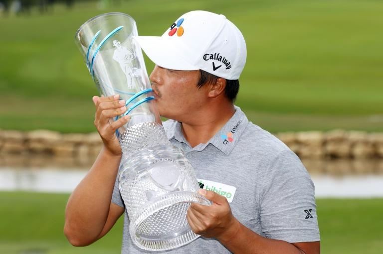 """""""Number one sexiest golfer""""? K.H. Lee celebrates winning the Byron Nelson Championship last weekend"""
