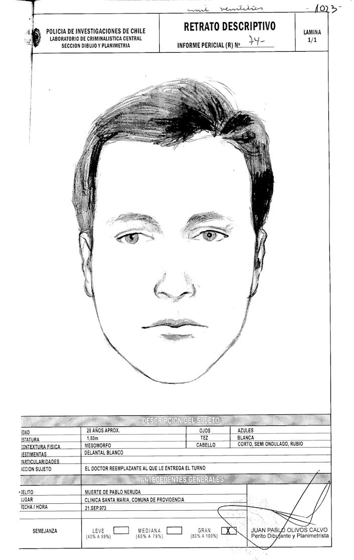 """This drawing done by Chile's police and released by Communist Party attorney Eduardo Contreras on Monday, June 3, 2013, shows a representation of the face of Dr. Price, who allegedly attended Pablo Neruda at the hospital when he died forty years ago. Judge Mario Carroza is formally investigating the cause of death of the Nobel Prize-winning poet. A judge ordered the police sketch based on the collections of Dr. Sergio Draper, a key witness who attended Neruda at the hospital. Draper said in the 1970s that he was at Neruda's side when he died. But Draper recently told the judge a different story — that a """"Dr. Price"""" took over Neruda's care just before he died, and disappeared shortly thereafter. The police notes below the sketch describe the subject as about 28 years old, with blue eyes, white skin and short blonde. (AP Photo/Chile's Police)"""