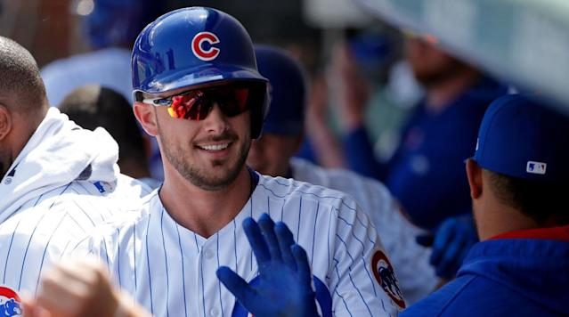 Kris Bryant hit a baseball very, very far on Saturday, so far that it bounced off the massive video board in left-center at Wrigley Field.