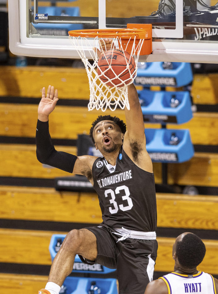 St. Bonaventure guard Jalen Adaway (33) watches as his shot fall through the net during the second half of a first round game against LSU in the NCAA men's college basketball tournament, Saturday, March 20, 2021, at Assembly Hall in Bloomington, Ind. (AP Photo/Doug McSchooler)