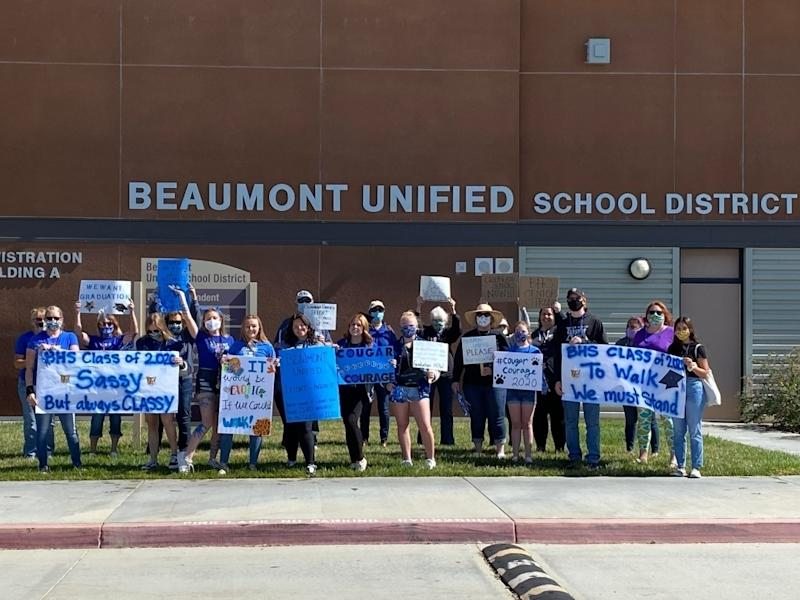 Monday's peaceful protest at Beaumont Unified School District headquarters.