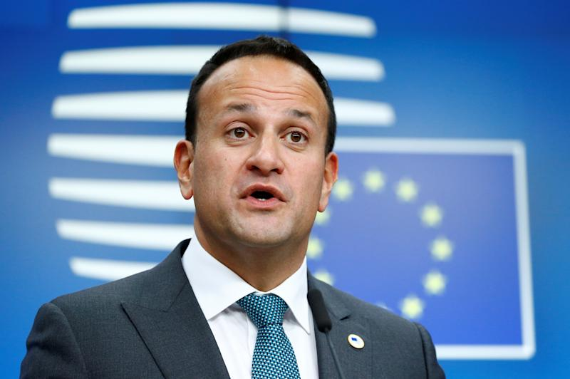 Ireland's Prime Minister (Taoiseach) Leo Varadkar speaks during a joint news conference with European Commission President Jean-Claude Juncker, European Council President Donald Tusk and European Union's chief Brexit negotiator Michel Barnier at the European Union leaders summit, in Brussels, Belgium October 17, 2019. REUTERS/Francois Lenoir
