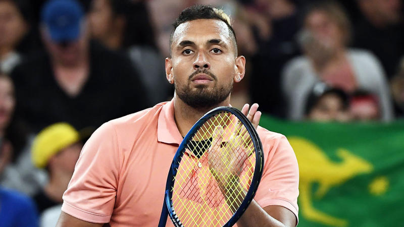 Nick Kyrgios thanks the crowd at the Australian Open.
