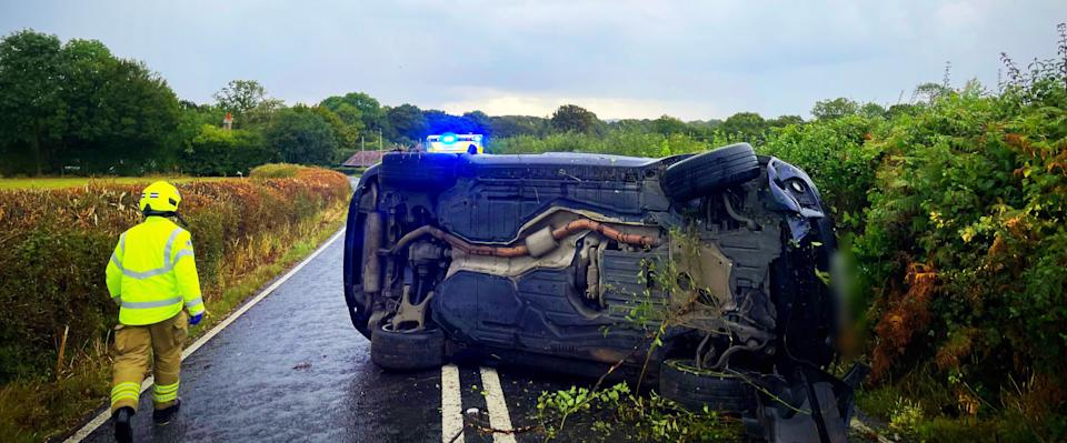 The aftermath of a single-vehicle collision on the B2135 near Partridge Green. (Twitter/PA)