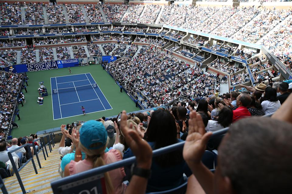 NEW YORK, NEW YORK - SEPTEMBER 07: A general view during the Women's Singles final match between Bianca Andreescu of Canada and Serena Williams of the United States on day thirteen of the 2019 US Open at the USTA Billie Jean King National Tennis Center on September 07, 2019 in the Queens borough of New York City. (Photo by Michael Owens/Getty Images)