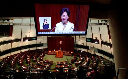 Hong Kong Chief Executive Carrie Lam delivers her policy speech at the Legislative Council in Hong Kong, China October 11, 2017.      REUTERS/Bobby Yip