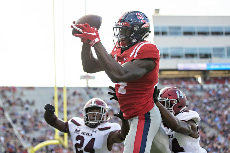 OXFORD, MS - SEPTEMBER 8:  D.K. Metcalf #14 of the Mississippi Rebels catches a pass during a game against the Southern Illinois Salukis at Vaught-Hemingway Stadium on September 8, 2018 in Oxford, Mississippi.  The Rebels defeated the Salukis 76-41.  (Photo by Wesley Hitt/Getty Images)