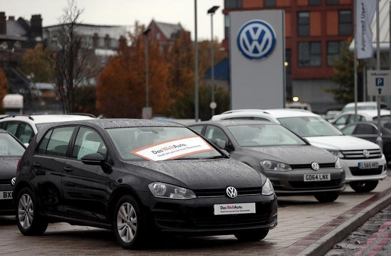 Volkswagen cars are parked outside a VW dealership in London