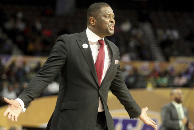 North Carolina Central coach LeVelle Moton directs his team during an NCAA college basketball game against Norfolk State in the championship of the Mid-Eastern Athletic Conference tournament, Saturday, March 16, 2019, in Norfolk, Va. (AP Photo/Jason Hirschfeld)